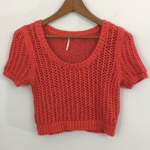 Free People open knit cropped scoop neck sweater